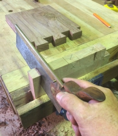 Cutting the Silky Oak Dovetails