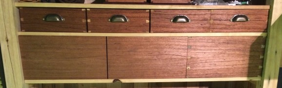 Grain matched cedar draw fronts