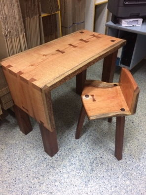 Silky Oak Laptop Desk and Stool