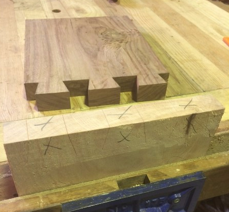 Marking the Silky Oak Dovetails