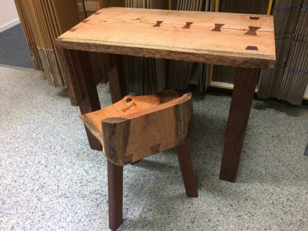 Silky Oak Laptop Table with Stool